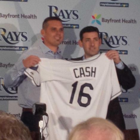 Rays president Matt Silverman, right, and new manager Kevin Cash.